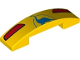 Part No: 93273pb081  Name: Slope, Curved 4 x 1 Double No Studs with Red Taillights and Blue Dinosaur Pattern