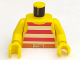 Part No: 973p31c01  Name: Torso Pirate Stripes Red / White with Gold Belt Buckle Pattern / Yellow Arms / Yellow Hands