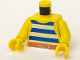 Part No: 973p32c01  Name: Torso Pirate Stripes Blue / White with Gold Belt Buckle Pattern / Yellow Arms / Yellow Hands