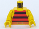 Part No: 973p33c01  Name: Torso Pirate Stripes Red / Black with Gold Belt Buckle Pattern / Yellow Arms / Yellow Hands