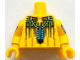 Part No: 973pb1401c01  Name: Torso Western Indians Blue Feather Pendant and Black Body Paint Pattern / Yellow Arms with Body Paint / Yellow Hands