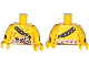 Part No: 973pb1502c01  Name: Torso Bare Chest with Muscles Outline, Scar, Copper Belt and Shoulder Strap Pattern / Yellow Arms with Wristbands / Yellow Hands