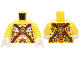 Part No: 973pb1743c01  Name: Torso Black Leopard Spots, Dark Red Straps and Orange Round Jewel (Fire Chi) Pattern / Yellow Arms / White Hands