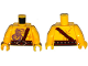 Part No: 973pb1961c01  Name: Torso Bare Chest Muscles, Dark Purple Snake Tattoo, Copper Snake Buckle, Dark Red Shoulder Strap, Scar on Back Pattern / Yellow Arms / Yellow Hands