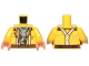 Part No: 973pb2499c01  Name: Torso SW Jacket with Suspenders and Gray Undershirt Pattern (Rowan) / Yellow Arms / Flesh Hands