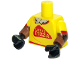 Part No: 973pb2582c01  Name: Torso Red Trim and 'LUIGI'S PIZZA', Straw Chest Pattern / Reddish Brown Arms with Patches and Yellow Short Sleeves Pattern / Black Hands