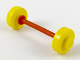 Part No: fabwheel4  Name: Wheel Pair Small with Center Stud fixed on Red Axle (Fabuland Stroller / Skateboard)