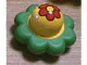 Part No: pri067pb01  Name: Primo Rattle Flower with 8 Green Petals and Red Flower Pattern