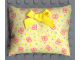 Part No: x22pb01  Name: Scala Cloth Pillow Large with Yellow Bow, Yellow and Green Dots and Red Butterflies Pattern