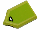 Part No: 22385pb171  Name: Tile, Modified 2 x 3 Pentagonal with Black Contoured White Triangle on Lime Background Pattern (Sticker) - Set 70826