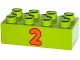 Part No: 3011pb038  Name: Duplo, Brick 2 x 4 with Number 2 Orange Pattern