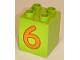 Part No: 31110pb026  Name: Duplo, Brick 2 x 2 x 2 with Number 6 Orange Pattern