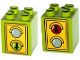 Part No: 31110pb104  Name: Duplo, Brick 2 x 2 x 2 with Traffic Light Duplo Minifigure Green Walk / Red Don't Walk Pattern
