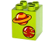 Part No: 31110pb105  Name: Duplo, Brick 2 x 2 x 2 with 2 Planets Pattern
