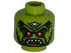 Part No: 3626bpb0860  Name: Minifigure, Head Alien with Red Eyes, Open Mouth with Pointed Teeth Pattern - Blocked Open Stud