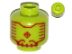 Part No: 3626cpb0989  Name: Minifigure, Head Alien with Red Head-Up Display (HUD) Pattern - Hollow Stud
