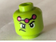 Part No: 3626cpb2000  Name: Minifig, Head Male Wide Eyes, Frown to Side, Three Magenta Dots Pattern (Brainiac) - Stud Recessed