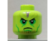 Part No: 3626cpb2270  Name: Minifigure, Head Alien Black Eyes, Green Eye Shadow and Cheek Lines, Purple Lines on Forehead Pattern - Hollow Stud