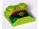 Part No: 41855pb06  Name: Brick, Modified 2 x 2 x 2/3 Two Studs, Lip End with 'M', Black/Red/Green Pattern