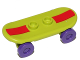 Part No: 42511c04pb14s  Name: Minifigure, Utensil Skateboard with Trolley Wheel Holders with Dark Red Stripe Pattern (Sticker) and Dark Purple Trolley Wheels (42511pb14s / 2496)