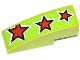 Part No: 50950pb066  Name: Slope, Curved 3 x 1 No Studs with 3 Red Stars Pattern (Sticker) - Set 60055