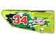 Part No: 64683pb009  Name: Technic, Panel Fairing # 3 Small Smooth Long, Side A with Red Number 34, 2 White Arrows and 'PULL BACK' Pattern (Sticker) - Set 42027