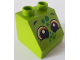Part No: 6474pb44  Name: Duplo, Brick 2 x 2 Slope 45 with 2 Eyes and Green Spots Pattern (Lizard)