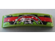 Part No: 93273pb078  Name: Slope, Curved 4 x 1 Double No Studs with Red Stripe, Black Danger Stripes and 3 White Half Circles Pattern (Sticker) - Set 9095