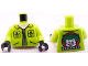 Part No: 973pb1005c01  Name: Torso Batman Jacket with Pockets and Zipper, Joker Logo on Back Pattern / Lime Arms / Black Hands