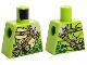 Part No: 973pb3418  Name: Torso Ninjago Snake with Green Scales, Dark Tan Shoulder Belt and Black Vials with Skull Pattern