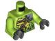 Part No: 973pb3418c01  Name: Torso Ninjago Snake with Green Scales, Dark Tan Shoulder Belt and Black Vials with Skull Pattern / Lime Arms / Black Hands
