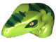 Part No: 98065pb09  Name: Dino Head Raptor with Pin Hole, Tan Teeth and Dark Green Stripes and Green Markings Pattern