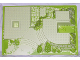 Part No: 44510pb04  Name: Baseplate, Raised 32 x 48 x 6 with Front and Back Steps and Green Garden Pattern