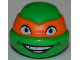Part No: 12607pb05  Name: Minifigure, Head Modified Ninja Turtle with Orange Mask and Smile Pattern (Michelangelo)
