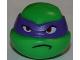 Part No: 12607pb06  Name: Minifigure, Head Modified Ninja Turtle with Dark Purple Mask and Frown Pattern (Donatello)