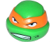 Part No: 12607pb12  Name: Minifigure, Head Modified Ninja Turtle with Orange Mask and Scowl Pattern (Michelangelo)