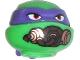 Part No: 12607pb13  Name: Minifigure, Head Modified Ninja Turtle with Dark Purple Mask and Breathing Apparatus Pattern (Donatello)