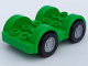 Part No: 13305c01  Name: Duplo Car Base 2 x 6 with Four Black Tires and Metallic Silver Wheels on Removable Axles