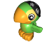 Part No: 16696pb01  Name: Duplo Bird Parrot with Black Do Rag with Skulls Pattern (Skully)