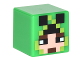 Part No: 19729pb017  Name: Minifigure, Head Modified Cube with Minecraft Pixelated Hood with Creeper Eyes over Face Pattern