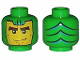 Part No: 3626bpx102  Name: Minifig, Head Balaclava with Green Goblin Face, Lines on Back Pattern - Blocked Open Stud