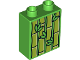 Part No: 76371pb046  Name: Duplo, Brick 1 x 2 x 2 with Bottom Tube with Bamboo Plants Pattern (10804)