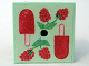 Part No: 33031pb09  Name: Container, Box 3.5 x 3.5 x 1.3 with Hinged Lid with Raspberries and Popsicle Pattern (Sticker) - Set 3116