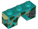 Part No: 4490pb04  Name: Brick, Arch 1 x 3 with Black and Silver Heart Camouflage and Radio Pattern