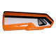 Part No: 11947pb026  Name: Technic, Panel Fairing #22 Very Small Smooth, Side A with Black Stripe and Silver Handle on White Background Pattern (Sticker) - Set 42038