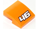 Part No: 15068pb093  Name: Slope, Curved 2 x 2 No Studs with White '46' with Black Outline on Orange Background Pattern (Sticker) - Set 60146