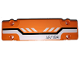 Part No: 15458pb016  Name: Technic, Panel Plate 3 x 11 x 1 with Black and White Stripes Partially Dashed and 'AR/Y84' on Orange Background Pattern (Sticker) - Set 42038