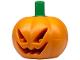 Part No: 20695pb01  Name: Minifigure, Headgear Head Cover, Pumpkin Jack O' Lantern with Green Stem Pattern