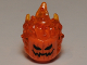 Part No: 26990pb01  Name: Minifigure, Head Modified Alien with Trans-Orange Flaming Hair and Pumpkin Jack O' Lantern Pattern