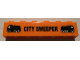 Part No: 3009pb142  Name: Brick 1 x 6 with Black 'CITY SWEEPER' and Trucks Pattern (Sticker) - Set 8404